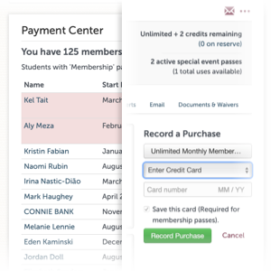Store credit cards and easily set students up on monthly recurring passes to build a loyal student base.