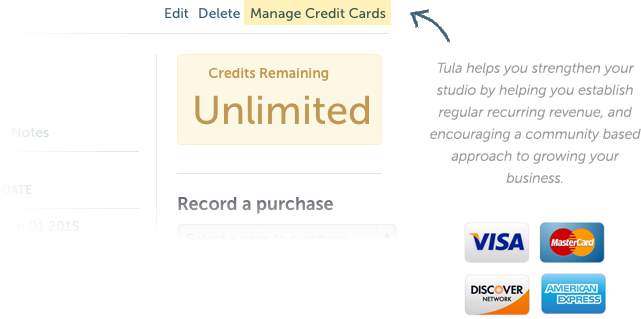 Store credit cards and easily set students up on monthly recurring passes.