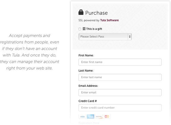 Embed your calendar, payment form and student access widgets right into your own website.